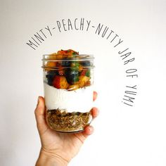 Minty-Peach-Nutty Jar of Yum! #highprotein #vegetarian #fitfood