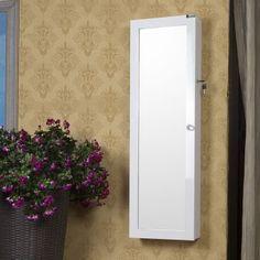 Duvara Monte Aynalı Takı Dolabı Parlak Beyaz