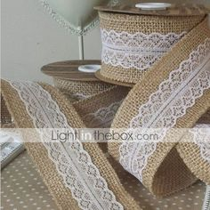 "5M 2"" (5 cm) Natural Jute Burlap Hessian Ribbon with Lace Trims Tape Rustic Wedding Decor Wedding Cake Topper(Random) 2016 – €8.81"