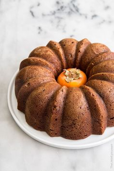 Persimmon Rum Bundt Cake with brown butter glaze