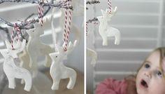 ornements cerfs blancs en pâte à sel pour bien décorer l'arbre de Noël