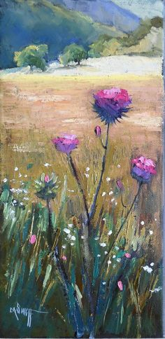 Thistle Painting  Small Oil Painting  Daily by CarolSchiffStudio, $160.00