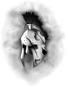 Tattoos are popular now more than ever. Skull Tattoos, Body Art Tattoos, Sleeve Tattoos, Molon Labe Tattoo, Spartan Helmet Tattoo, Sparta Tattoo, Helmet Drawing, Knight Tattoo, Warrior Drawing