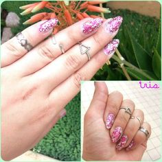 Pink and silver glitter nails ★☆