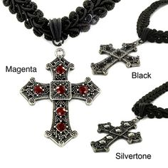 Absolutely ♥ these!  @Overstock.com - This fashion-forward choker features a detailed gothic cross design set with resin stones in your choice of red, silvertone or black color options. This necklace comes with a black fabric cord and a lobster claw clasp for comfortable wear.http://www.overstock.com/Jewelry-Watches/Silvertone-and-Black-Fabric-Resin-Cross-Choker-Necklace/6991326/product.html?CID=214117 $15.29
