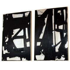 Monumental Pair of Original Signed Abstract Paintings (4 ft.x 6 ft. each panel)…