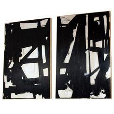 Monumental Pair of Original Signed Abstract Paintings (via @1stdibs) #art #paintings #blackandwhite