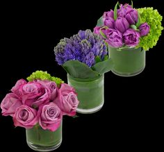 Amethyst Trio |   Simple and sweet, this trio of arrangements makes three lovely small gifts. Shades of violet, fragrance and beauty are encompassed in each vase of indigo hyacinth, lavender roses and plum tulips, accented with lively pops of spring green.
