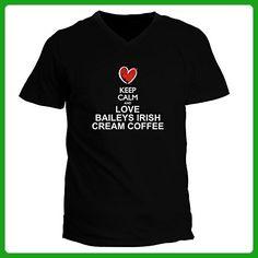 Idakoos - Keep calm and love Baileys Irish Cream Coffee chalk style - Drinks - V-Neck T-Shirt - Food and drink shirts (*Amazon Partner-Link)