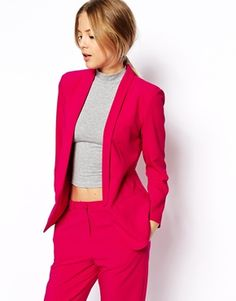 Enlarge ASOS Blazer In Crepe With Slim Lapel wtf- how cute a pink suit! with a crop top!
