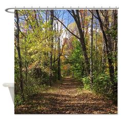 Autumn Trail Shower Curtain Nature Scenery Curtains Art Gifts