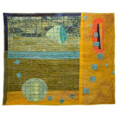 """This contemporary art quilt by artist Judy Rush, titled """"Expansion"""", is designed to be displayed on the wall and measures 52""""W x 44""""H. All of Judy's contemporary art quilts are strip pieced, machine sewn, machine quilted and made with hand dyed fabrics. 52""""W X 44""""H."""