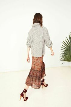 ulla johnson Fall 2015 - inspiration / fisherman sweater over floral dress, lace up shoes