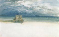 Joseph Mallord William Turner (1775-1851). The Castel dell'Ovo, Naples, with Capri in the Distance, 1819. Pencil and watercolor on paper