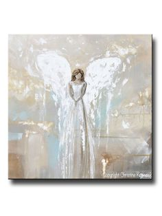 """My Angel's Guiding Light"" Canvas Print fine art angel painting palette knife spiritual white grey cream gold green blue farmhouse home decor canvas wall art Original Art, Original Paintings, Angel Paintings, Art Paintings, Angel Artwork, Light Wall Art, Canvas Wall Art, Contemporary Art, Abstract Art"