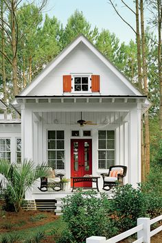 Cottage of the Year. I pinned this because I thought this was the cottage. Not my idea of a cottage. Cute Cottage, Romantic Cottage, Cottage Style, Cottage Porch, Backyard Cottage, House Porch, House Front, Small Cottages, Cabins And Cottages