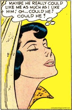 "Comic Girls Say.. "" Maybe he really could like me as Much als I like him.. Oh Could he? Could hè?"" #comic #vintage #popart"
