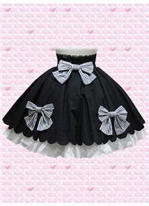 Black Cotton Short Sweet Lolita Skirt With Flouncing Hemline