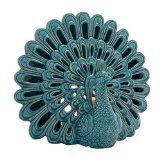 Ceramic Peacock Votive Holder  $61.37 www.allthingspeacock.com - Peacock Candles