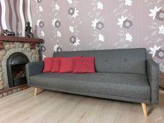 (514) DARU - Rozkládací retro pohovka šedá Nové, nepoužité, dovezeno z Německa, vyrobeno pro německou klientelu, rozměry: Š205xH90xV80cm, spací plocha Sofa, Couch, Love Seat, Retro, Furniture, Home Decor, Decoration Home, Room Decor, Settee