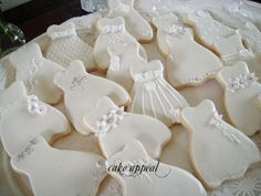 wedding dress cookies from Cake Appeal, Fort Wayne, IN
