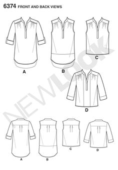 Simplicity Creative Group - Misses' Shirts with Sleeve and Length Options