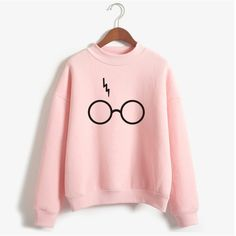 Harry Potter Glasses Print Sweatshirt Women Hoodie O-Neck Long Sleeve Cotton Fleece Sweatshirt Printed Pullover Woman NSW-21568 - free shipping worldwide