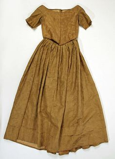 1856-1860 American or European silk, linen dress