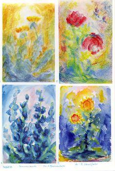 Tafel 55: Pflanzenkunde 03 in Pflanzenfarben (6.-9. Schuljahr)  1. Löwenzahn auf bl. Boden vor gelbem Him. mit weisser Sonne als Heiligenschein (in Pflanzenfarben) 2. rotblütige Blumen auf blau-grün-gelbem Boden mit gelbem Hintergrund und weissem Lichtfenster als Heiligenschein und Insekten in Rot-Blau 3. blauer Eisenhut auf blauem Boden mit weiss-blauem Hintergrund mit Wirkung eines Heiligenscheins (in Pflanzenfarben)  4. rot-gelbe Sonnenblumen auf blauem Boden mit bl. und gelbem…