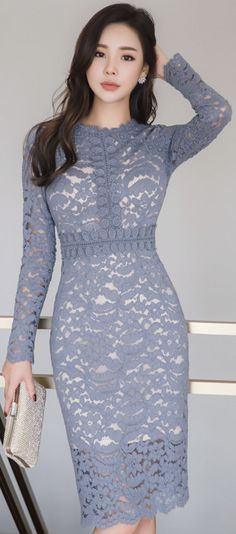 StyleOnme_Full Lace Slim Fit Dress #feminine #blue #lace #dress #koreanfashion #kstyle #kfashion #seoul #elegant #datelook