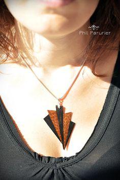 collier argent 925, pendentif ébène et amourette. wooden necklace, wooden jewelry, necklace, gemstone necklace. contemporary jewelery