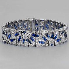 Art Deco Sapphire Rose Diamond Bracelet, 1920's