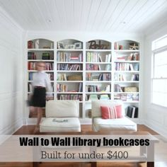 Library wall to wall bookcases - Bookcase Plans - Sawdust Girl® Bookcase Plans, Bookshelves Built In, Built Ins, Diy Bookcases, Styling Bookshelves, Sawdust Girl, Library Wall, Library Ideas, Book Wall