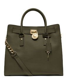 Everyday bag in a great neutral green! MICHAEL Michael Kors  Large Hamilton Saffiano Tote