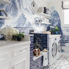 Quite possibly the most beautiful #laundryroom ever by @dinabandmaninteriors featuring #handpainted wallpaper by @degournay. And how perfect is the little doggie bath? #Repost @dinabandmaninteriors・・・#launderinginthelapofluxury @sfshowcase this room was a labor of love and I couldnt have done it without my fabulous vendors - please come visit me starting tomorrow when #sfshowcase opens to the public! biggest shout out to contractor extraordinaire - @samueldiosdado @sidneybuildersinc, @juli