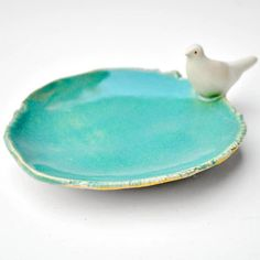 CUSTOM ORDER FOR kingasnow 2 White Dove Trays on Turquoise, and red - handmade stoneware pottery candle holder