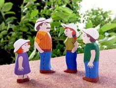 Wooden Farm Figures Set Family of 4 Farmer by WoodenCaterpillar