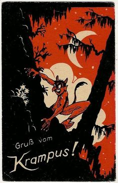 Krampus Climbing on a Mountain at Night, Christmas, Old Postcard in Collectibles, Postcards, Holidays | eBay