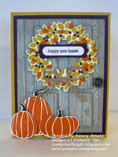 2014  the Hardwood stamp, Wondrous Wreath Bundle,  pumpkins are from the Fall Fest stamp set ,
