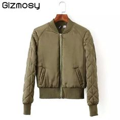 Gizmosy! 2016 Women V-Neck Quilting Quilted Jacket Short Thin Padded Bomber basic Coat Pilots Outerwear Tops 4 Color BN132BN