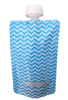Reusable Baby Food Pouch  5 Pack Blue Chevron  5 oz size by Nourish with Style -- For more information, visit image link.Note:It is affiliate link to Amazon.