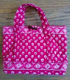 Vera Bradley Nantucket Red Small Toggle Closure Hard Bottom Tote Purse.  Nantucket Red be168dc91575b
