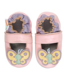 Loving this Pink Butterfly Leather Booties on #zulily! #zulilyfinds