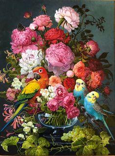 Bouquet with Jasmine by Yana Movchan Floral Illustrations, Illustration Art, Abstract Pictures, Renaissance Paintings, Rare Birds, Vanitas, Bird Art, Flower Art, Beautiful Flowers