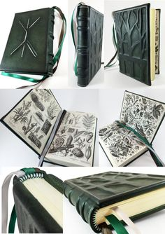 This is a commission piece for a return customer. I love to work on creations for him. He has great ideas. 6x9 dark forest green leather journal with silver accents and decorative tree inlays. Hand...