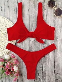 2df8c9650ad64 Bikini Set 2018 Newest Swimwear Women Knotted Padded Thong Swimsuit Bathing  Suit Swimwear For Women Brazilian