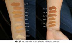 Swatches of SMF - Stay Matte But Not Flat Liquid Foundation. Matte Makeup, Nyx Matte, Beauty Makeup, Hair Makeup, Makeup Swatches, Makeup Techniques, Beauty Hacks, Beauty Stuff, Beauty Tips