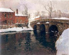 Frits Thaulow, Old Bridge  Norwegian impressionist painter  1847-1906