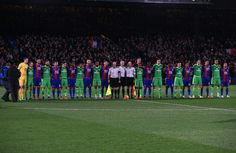 Crystal Palace and Sunderland players line up as the French national anthem is played in tribute to the Paris attacks