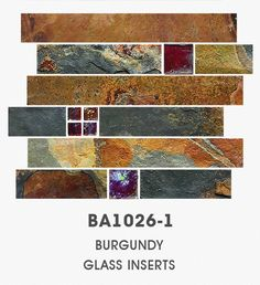 Slate Glass Backsplash Mosaic Tile with Gray Burgundy Inserts